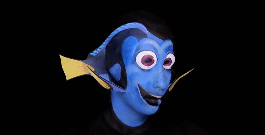 Artista del make-up si trasforma in Dory: impressionante