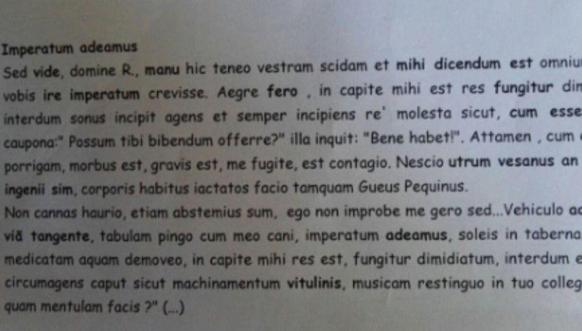"""""""Imperatum adeamus"""": il prof fa tradurre la versione in latino di """"Andiamo a comandare"""""""