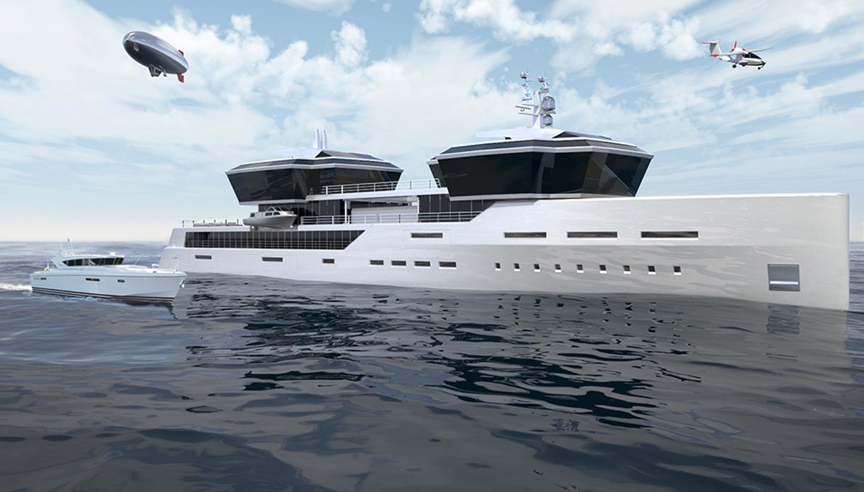 Il super yacht milionario con dentro auto, aereo, dirigibile e motoscafo