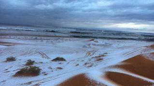 Il miracolo della neve in Arabia Saudita