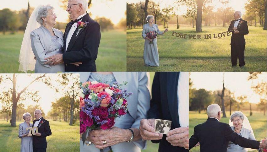 70 anni dopo il matrimonio riproducono l'album di nozze