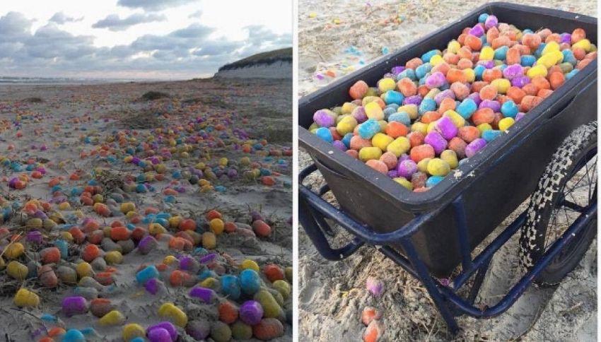Invasione di ovetti Kinder su una spiaggia della Germania