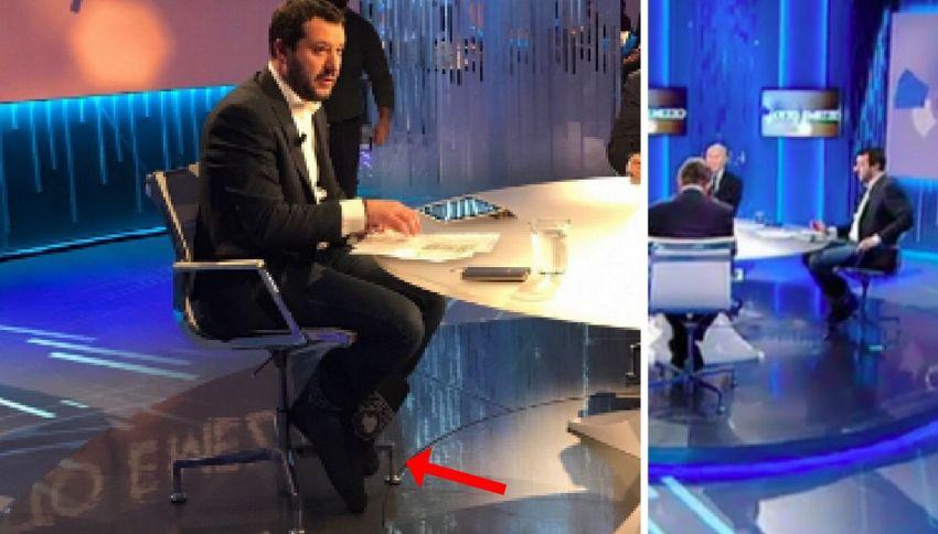 Matteo Salvini indossa i doposci in diretta: è polemica