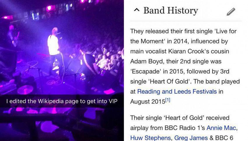 'Trucca' pagina di Wikipedia ed entra nell'area VIP del concerto