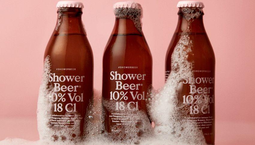 Arriva la birra da bere sotto la doccia