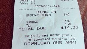 L'inaspettata frase stampata sullo scontrino del ristorante