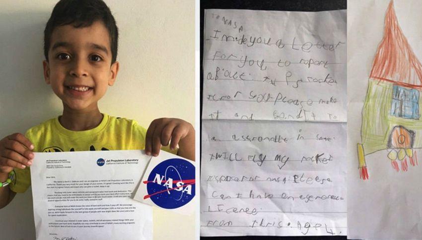 A 4 anni crea il progetto di un razzo: la Nasa risponde così