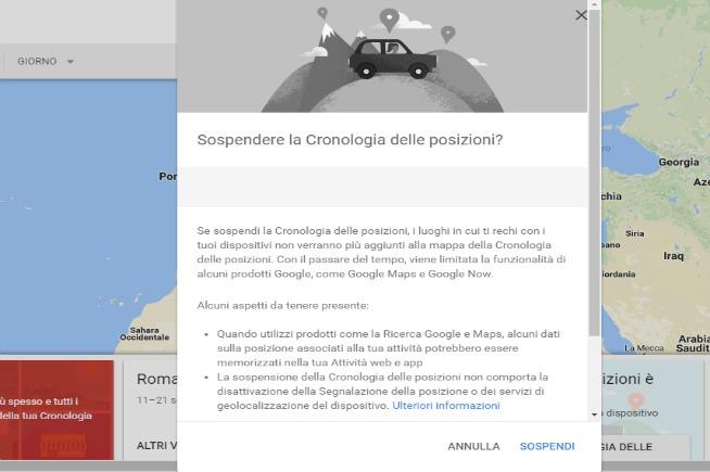 Disattivare la cronologia delle posizioni su Google Maps