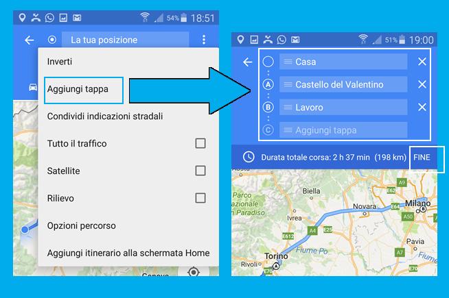 Google Maps tappe intermedie