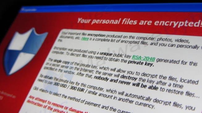 Schermata ransomware