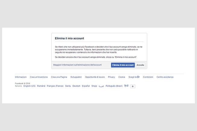 Schermata per cancellarsi da Facebook