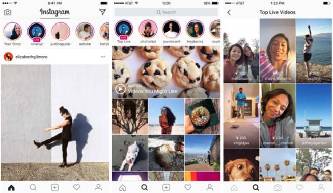 L'interfaccia di Instagram Live Stories