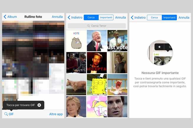 Schermate per inserire Gif su iPhone