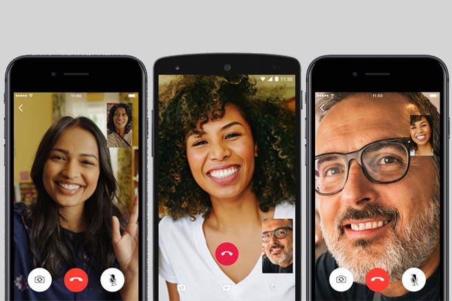 Interfaccia videochiamate WhatsApp