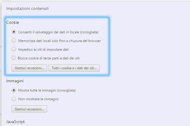 Impostazioni browser