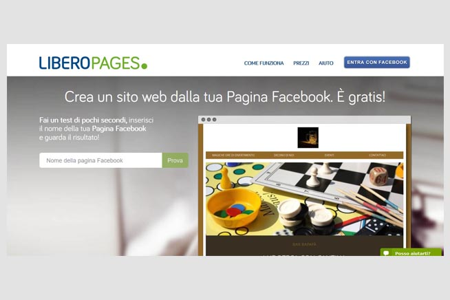 home page di Libero Pages