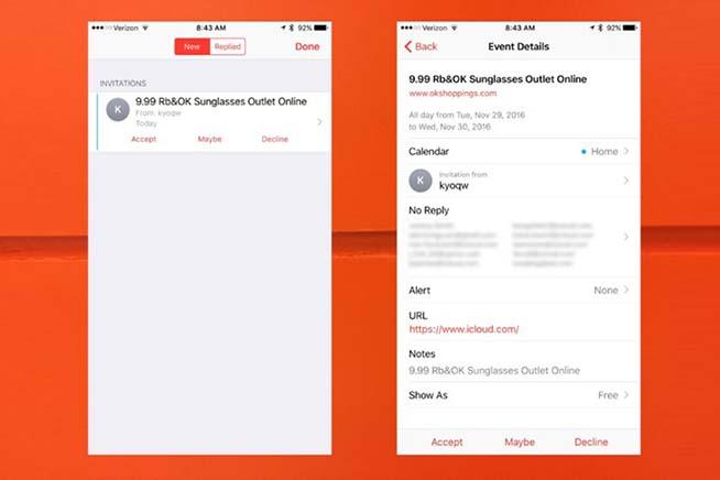 Inviti spam calendario iPhone
