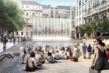 Un rendering dell'Apple Store di Piazza Liberty a Milano