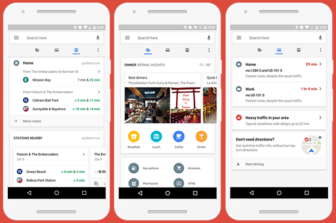 Ecco le tre schede come appaiono nella nuova versione delle mappe di Google per Android