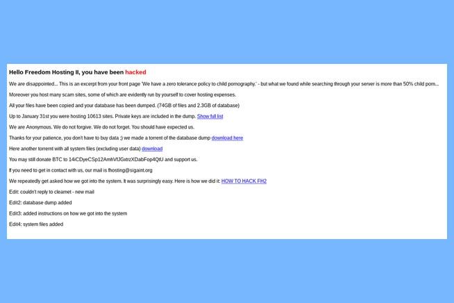 Messaggio dell'hacker ai gestori di Freedom Hosting II