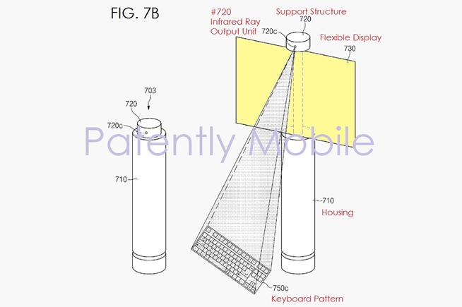 Il dispositivo brevettato da Samsung è dotato di un'uscita a raggi infrarossi per proiettare una tastiera virtuale. A questo punto non è da escludere che quello che verrebbe digitato comparirebbe sullo schermo flessibile.