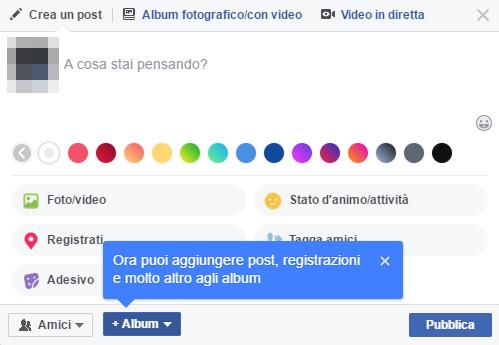 Creazione album Facebook