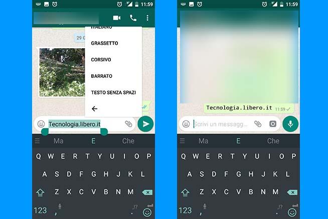 Come scrivere senza spazi su WhatsApp