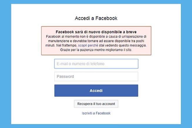 Il messaggio apparso sulla pagina di accesso a Facebook