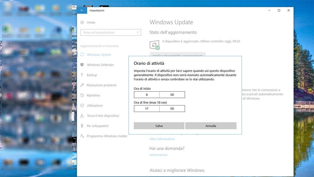 Come evitare il riavvio di Windows 10 mentre stiamo lavorando