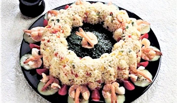 Anelli di riso con scampi e gamberi