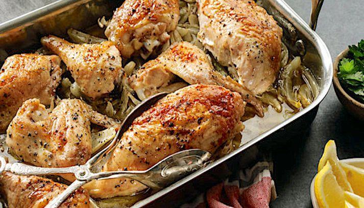 Pollo arrosto con finocchi e olive