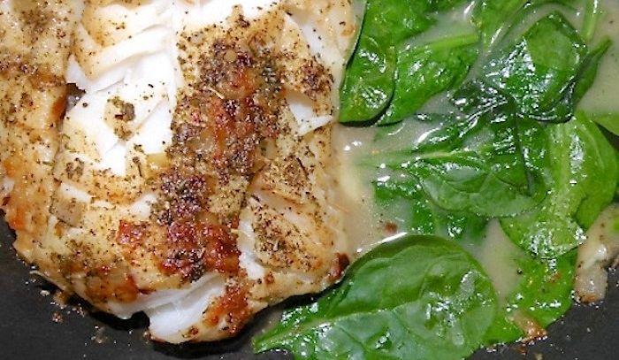 Merluzzo con spinaci
