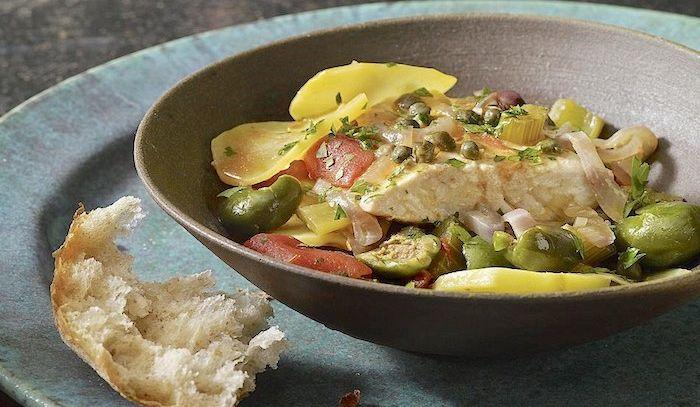 Rombo con patate e olive