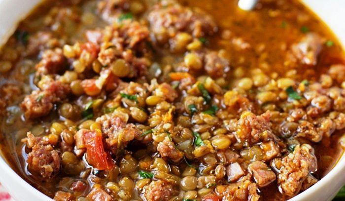 Zuppa rustica di lenticchie e pollo - Microonde