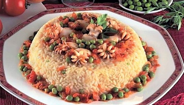 Corona di riso e seppioline
