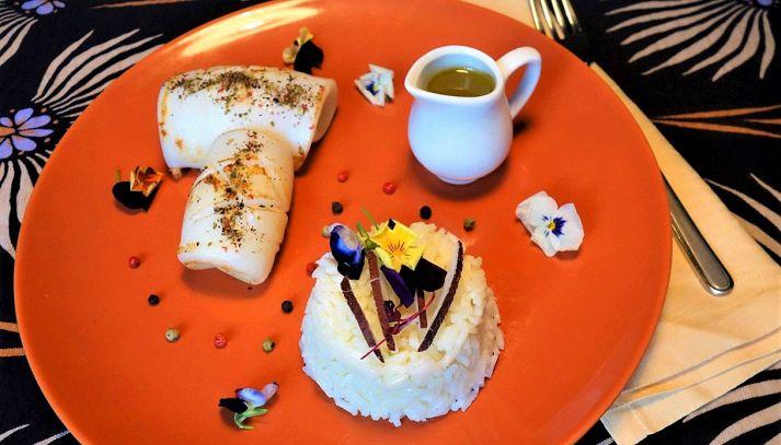 Calamari ai 3 pepi con Riso Gallo Aroma, lemongrass e citronette