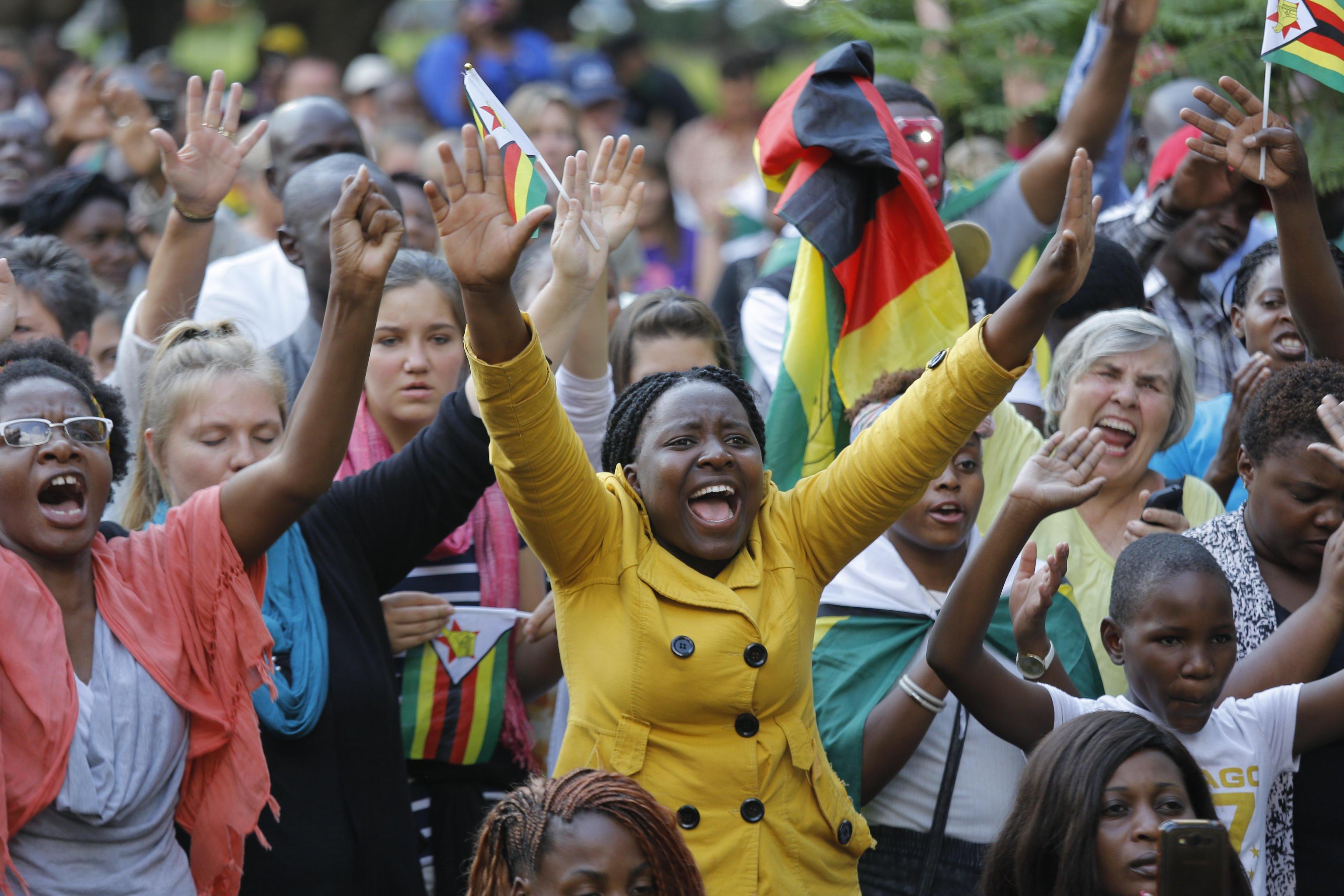 Protesta degli studenti contro Mugabe