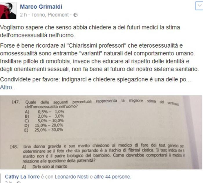 Omofobia nei test di medicina, l'ira della ministra Fedeli