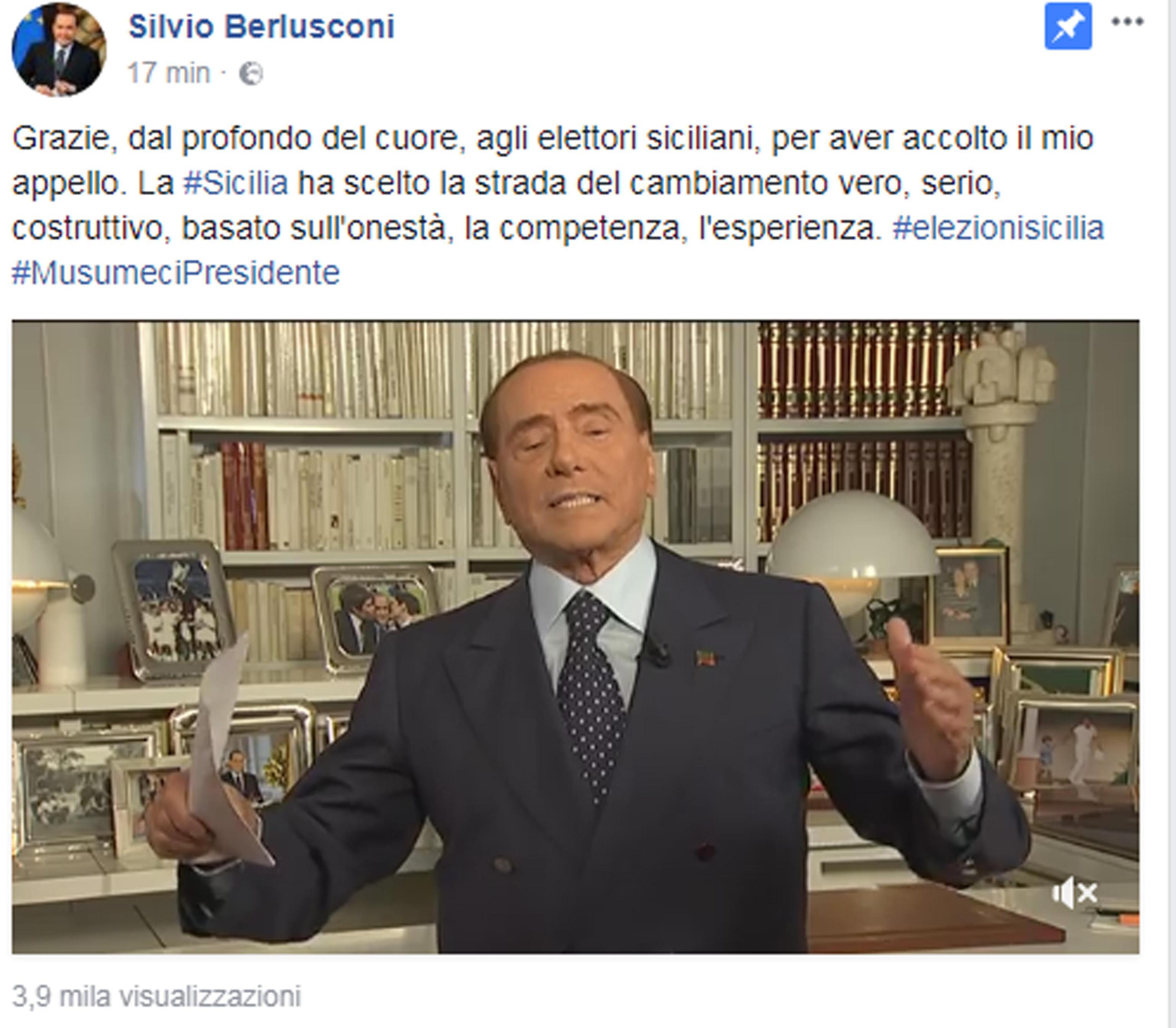 """Berlusconi, FI """"salvato"""" Sicilia da M5S"""