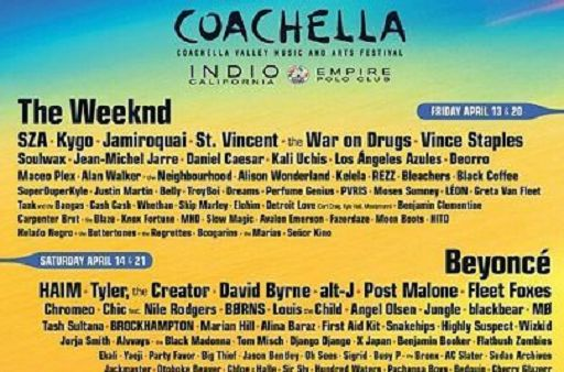 Beyoncé, The Weeknd ed Eminem headliner al Coachella festival