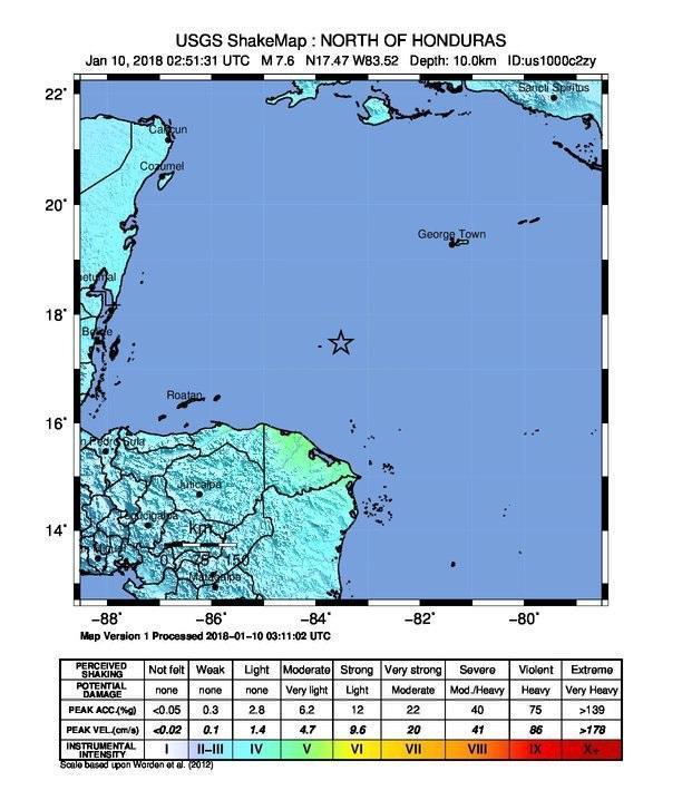 Sisma magnitudo 7.2 nel mar dei Caraibi