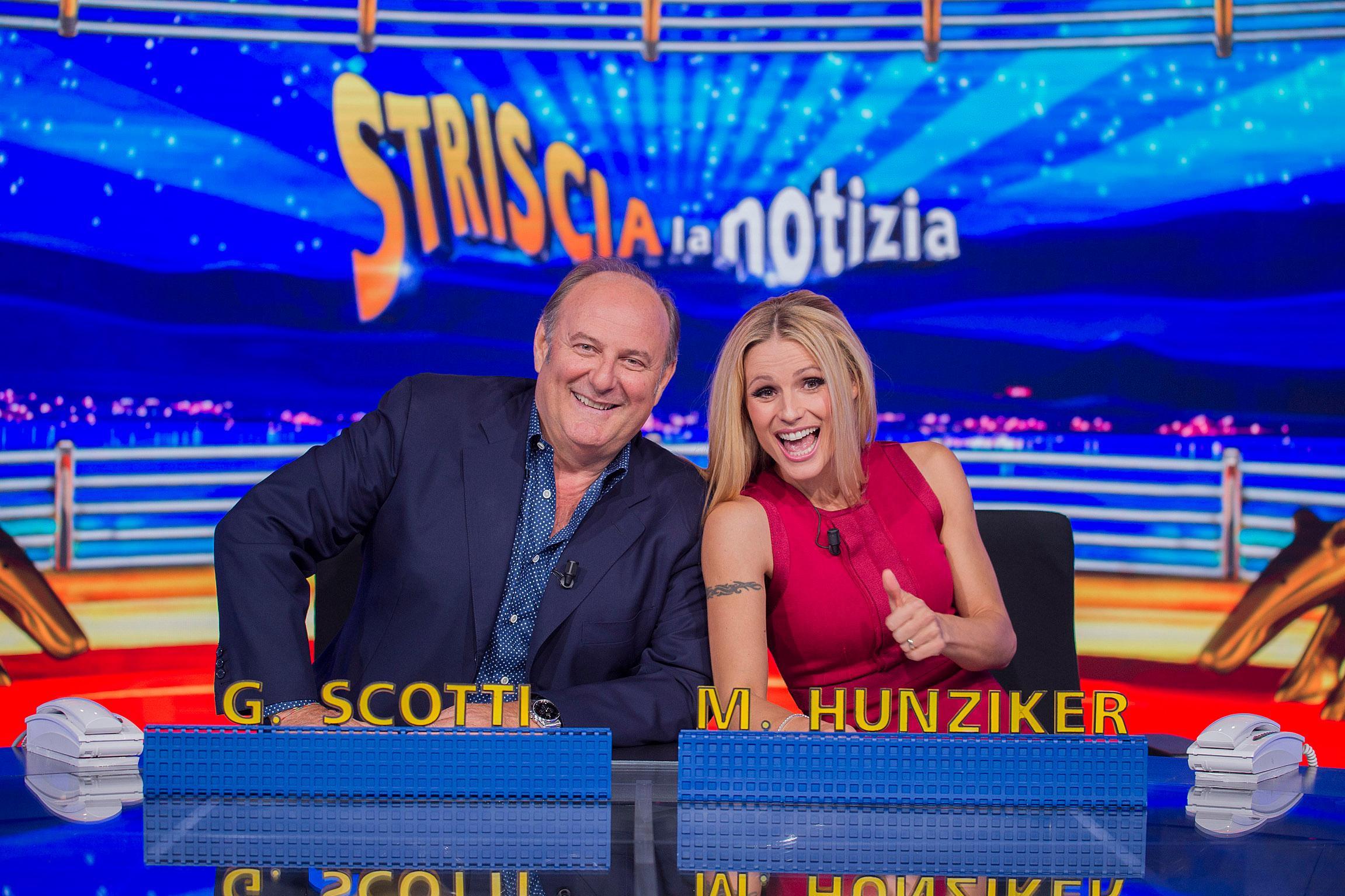 Scotti torna a Striscia con Hunziker