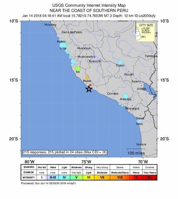 Terremoto Perù: almeno 2 morti e feriti
