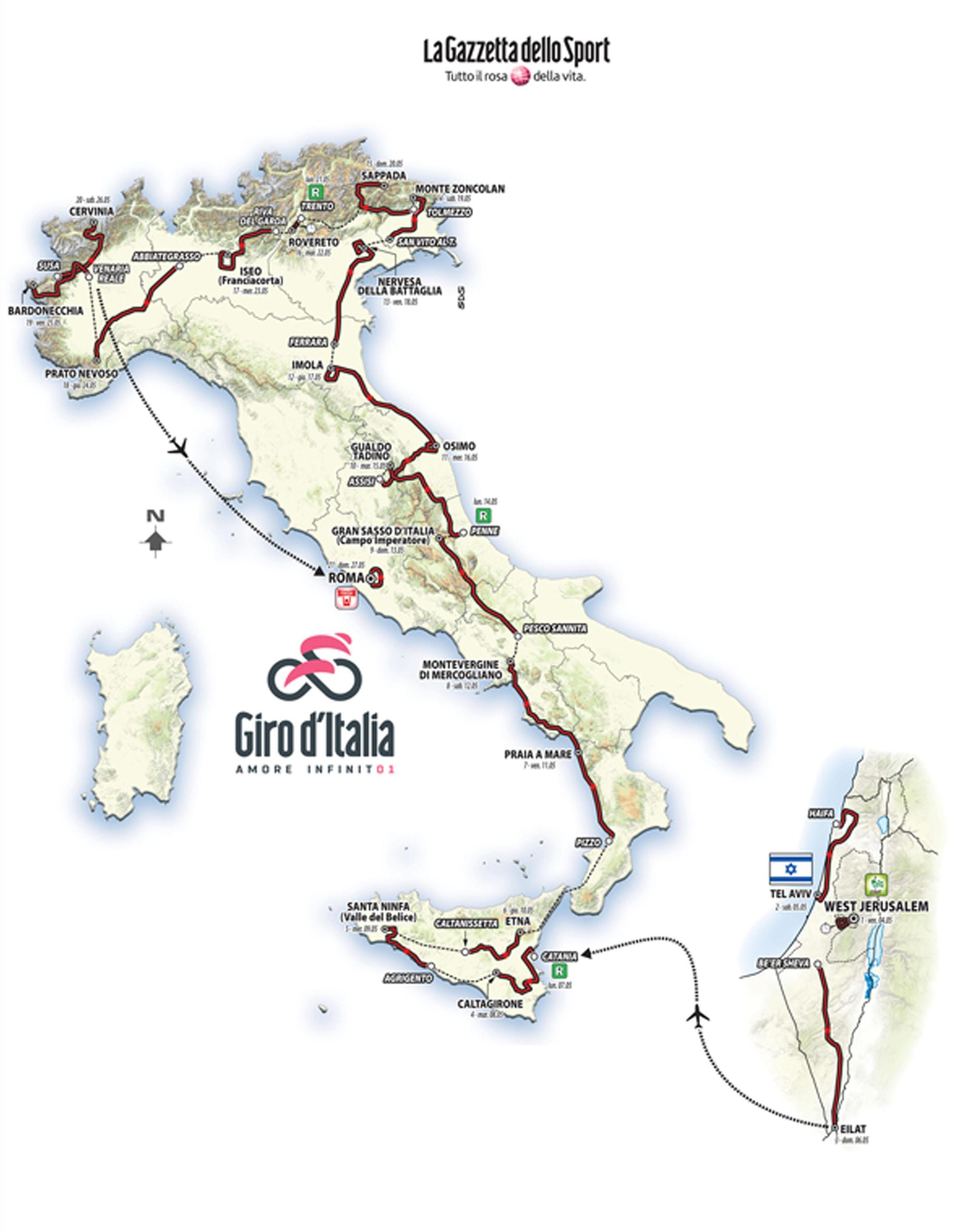 Calendario Giro D Italia.Giro D Italia 2018 Il Calendario Delle Tappe Virgilio Sport