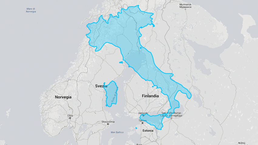 Le mappe mentono, l'Italia è molto più grande di quanto sembra
