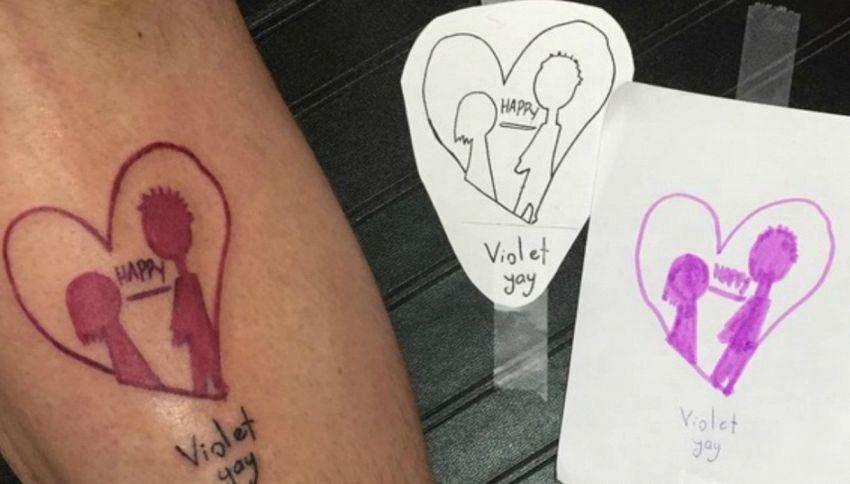 I primi disegni dei figli come tatuaggio, la nuova moda per tutti i genitori
