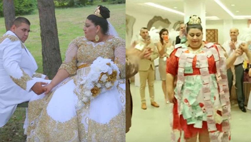 Le nozze più tamarre del secolo: oro e soldi ovunque, anche sulla sposa