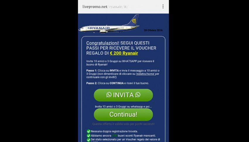 Biglietti Ryanair gratis: l'ultima truffa su Whatsapp