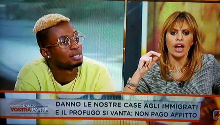 Bello Figo e Alessandra Mussolini: lite in diretta tv sull'immigrazione