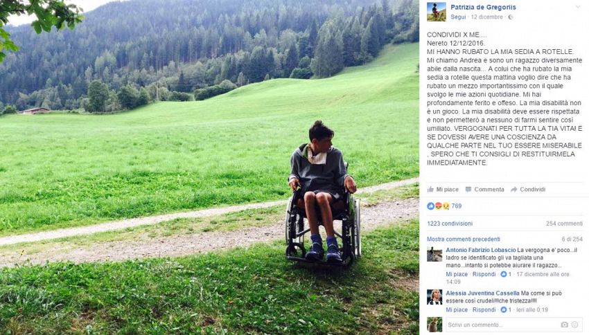 L'appello del disabile: ridatemi la sedia a rotelle rubata